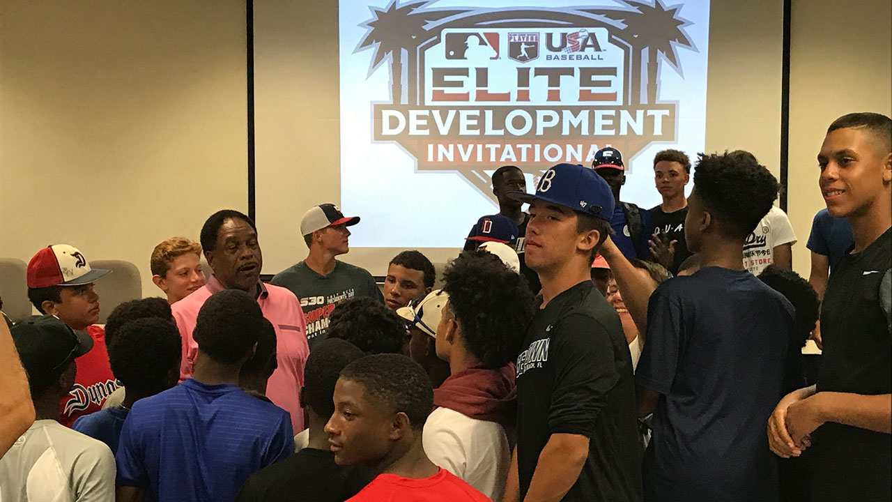 Winfield speaks to future stars at Dodgertown