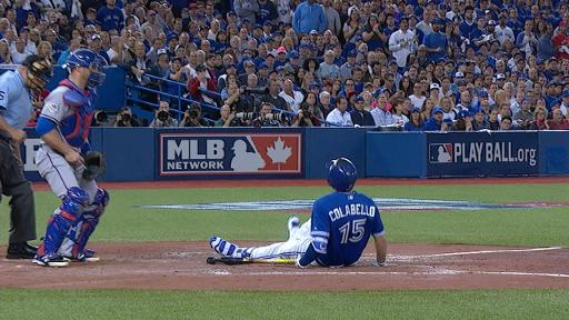 Chris Colabello goes down at the plate