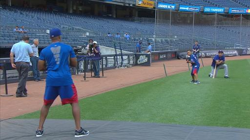 Beltre and his son play catch