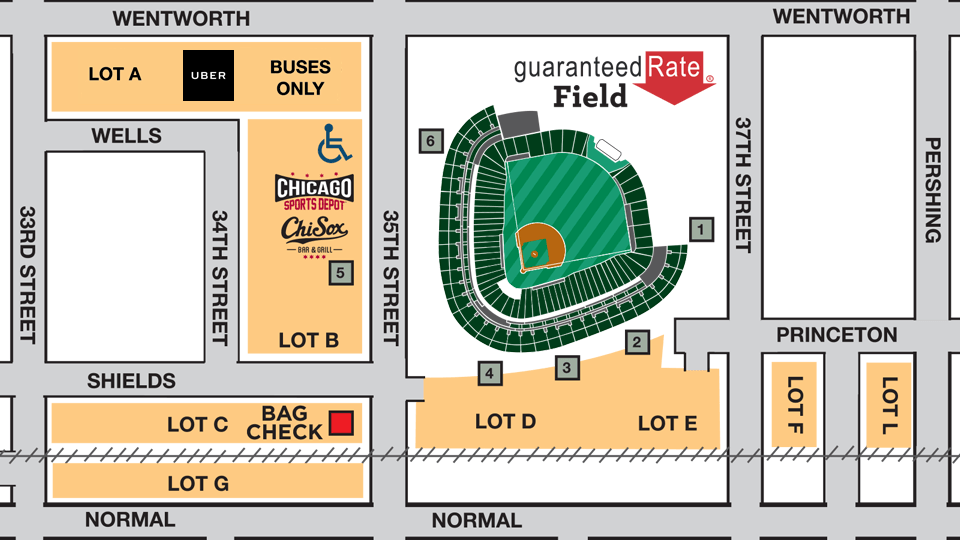 US Cellular Field Parking Maps Lots Passes Public Transportation - Us cellular field map
