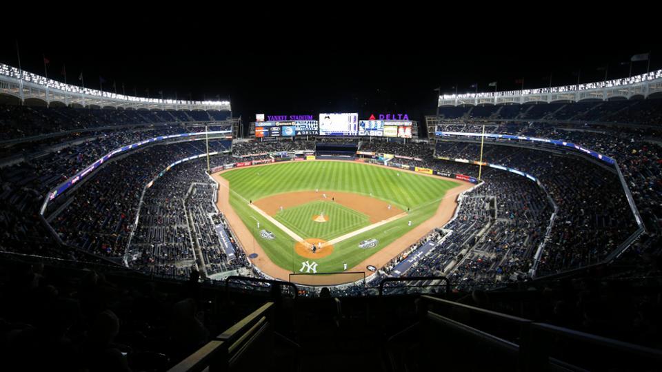 Empty Yankee Stadium At Night Baseball Stadium At Ni...