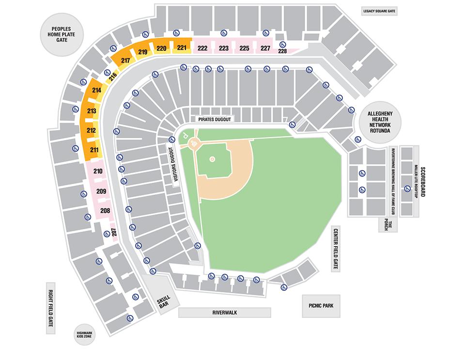Pittsburgh Baseball Club MLBcom - Pnc park map seating