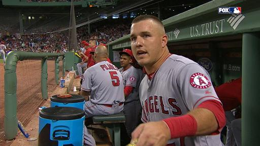 Mike Trout gives bat away