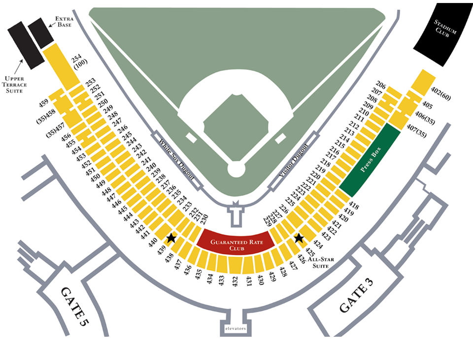 Diamond Suites MLBcom - Us cellular field seating map