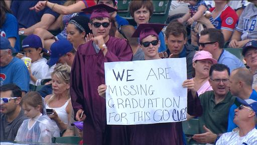 Cubs fans skip graduation to go to game