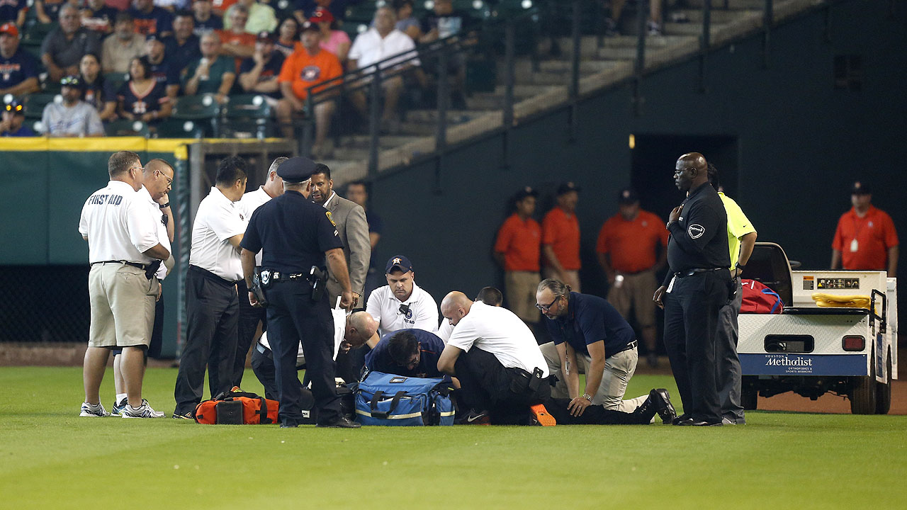 Astros security guard collapses, hospitalized