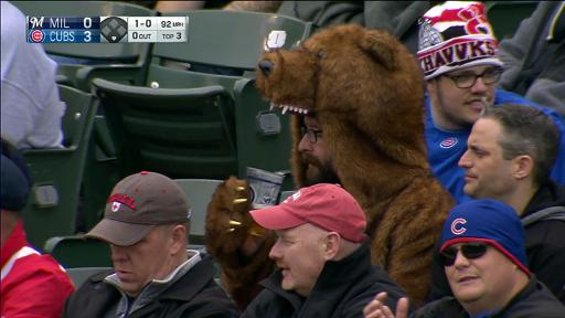 Fan in cub costume drinking beer
