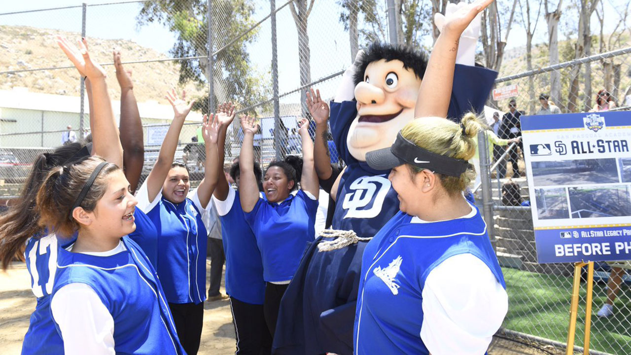 MLB, Padres hold historic softball field opening