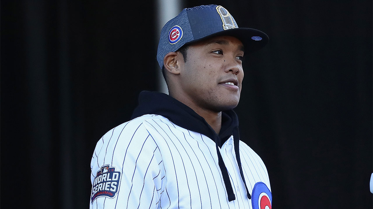 addison russell at cubs camp after wild year mlb com