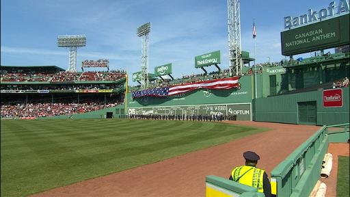 American flag covering green monster