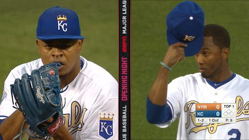 Volquez wears wrong KC hat in split screen