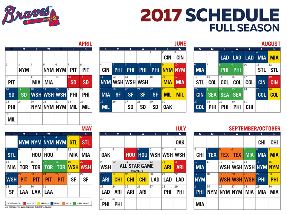 picture regarding Braves Printable Schedule named Braves Schedual