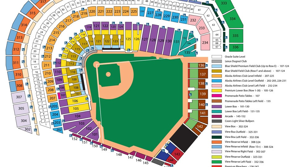 ATT Park Seating Chart MLBcom - Mlb us map