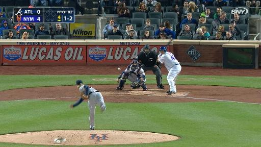 Bartolo Colon strikes out and catches his helmet