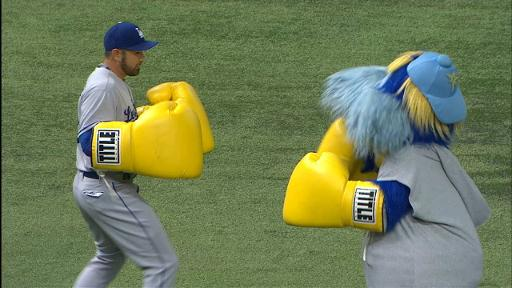 Adrian Gonzalez Boxing with TB mascot