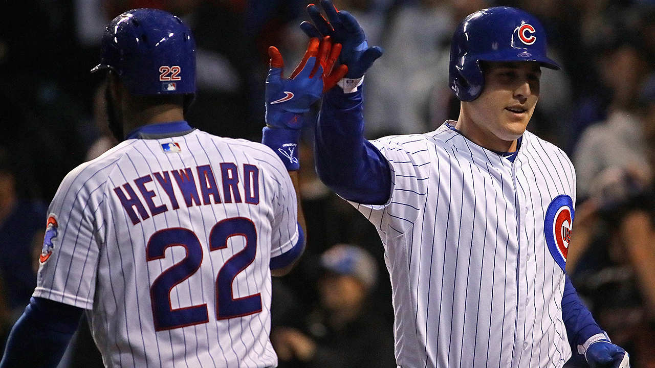 Schwarber, Heyward, Rizzo homer vs. Giants