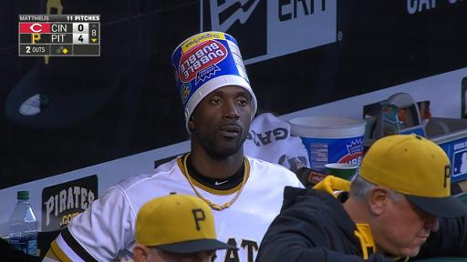 Andrew McCutchen Wears Bubble Gum Hat